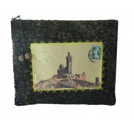 Pochette velours carte postale