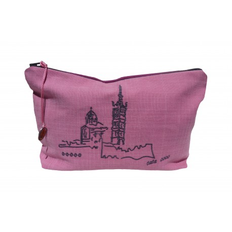 TROUSSE Brodée Bicolore Rose / Framboise