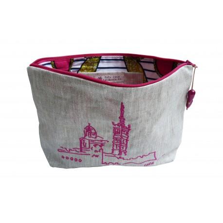 TROUSSE Toile enduite Brodée Notre-Dame-de-la-Garde Rose